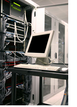 For your convenience, our data center features many roll-out server monitor carts, complete with mouse and keyboard.